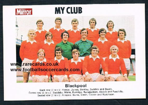 1970 My Club Daily Mirror postcard-size card Blackpool